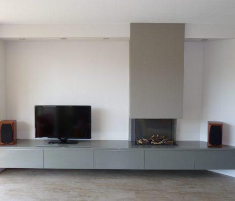 TV dressoir met open haard