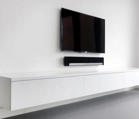 Zwevende, witte televisiekast/dressoir